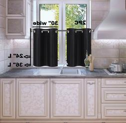 1 SET LINED BLACKOUT PANELS KITCHEN SMALL WINDOW CURTAIN TIE