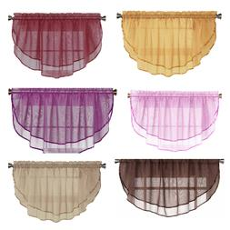 1 Solid Sheer Double Ruffled Window Valance Topper Waterfall