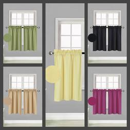 1 pair kitchen rod pocket silk window