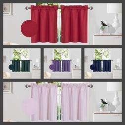 1 PAIR Kitchen Rod Pocket Window Tier Curtain Insulated Blac