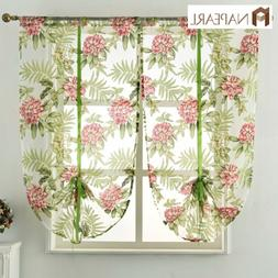 NAPEARL 1 Panel Kitchen Floral Decor Balloon Curtains Tie up