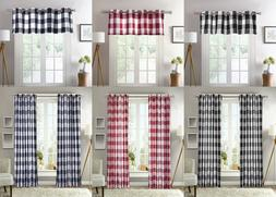 1 Piece Plaid Courtyard Buffalo Checker Grommet Top Window C