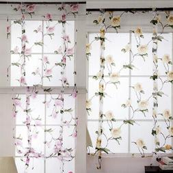 1 Piece Window Floral Short Kitchen Curtains Roman Shades Dr