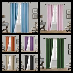 1 SET 100% THERMAL BLACK OUT WINDOW LINED CURTAIN PANEL DRAP
