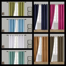 1SET 100% BLACKOUT FAUX SILK WINDOW LINED CURTAIN PANEL DRAP