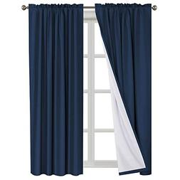 100% Blackout Curtains Waterproof Fabric Curtains with White