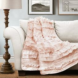 "Lush Decor 16T000207 Belle Throw, 60"" X 50"", Pink Blush,60"""
