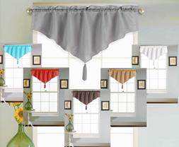 1PC SOLID ROD POCKET FAUX SILK WINDOW ASCOT VALANCE SWAG TOP