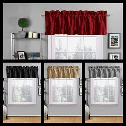1PC FAUX SILK VALANCE ROD POCKET WINDOW CURTAIN KITCHEN CAFF