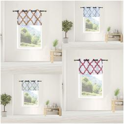1PC Tier Valance Kitchen Geometric Design Blackout Grommet W