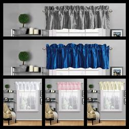 1PC VALANCE ROD POCKET SATIN WINDOW CURTAIN KITCHEN CAFFE RE