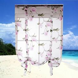 1pcs Floral Roman Curtain Ribbon Window Shade for Living Roo