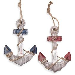 2 Nautical Wall Decor, Hanging Anchors with Thermometer - 7.