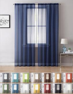 2 Pack: Contemporary Plaid Sheer Voile Window Curtains - Ass