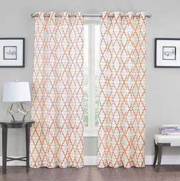 2 Pack: Kendall Luxurious Trellis Crushed Grommet Sheer Voil