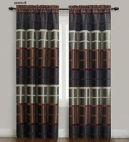 2  Chocolate, Burgundy & Taupe Window Curtain Panels: Faux S
