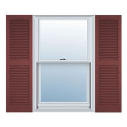 12 in. Vinyl Louvered Shutters in Burgundy Red - Set of 2 )