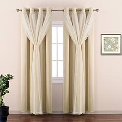 NICETOWN Double-Layer Mix & Match Dressing Beige Sheer Plus