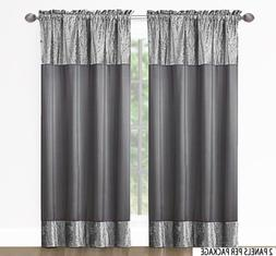 """2 Panel Fabric Window Curtain Set. Total Size: 80""""  Wide x 8"""