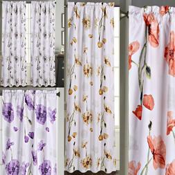 2 PANEL LINED BLACKOUT WINDOW FLORAL PRINTED CURTAIN ROD POC