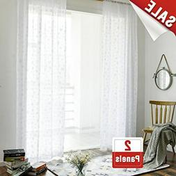 jinchan 2 Panel White 84 inches Long Sheer Curtains with JCU