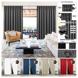 2 Panels 100% Thermal Insulated Blackout Curtains Rod Pocket