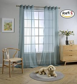 Miuco 2 Panels Grommet Textured Solid Sheer Curtains 95 Inch
