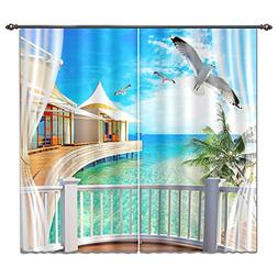 LB Tropical Beach Window Curtains for Living Room Bedroom,Bl