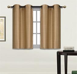 Elegant Home 2 Panels Tiers Grommets Small Window Treatment