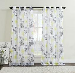 2 Pc Yellow/Gray/Black Sheer Grommet Window Curtain Panels: