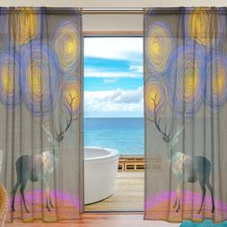 2 Pieces Creative Elk with Van Gagh Starry Night Design Tull