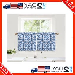 2 Set Medallion Pattern Rod Pocket Short Tier Curtains for K