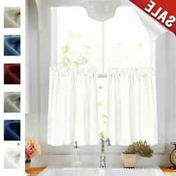 24 inch White Kitchen Tiers Semi Sheer Café Curtains Rod Po
