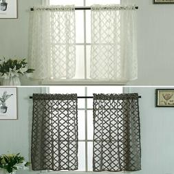 "29"" Plaid Lace Sheer Short Curtain Cafe Kitchen Tulle Scarf"