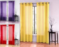 2PC SOLID VOILE SHEER WINDOW DRESSING CURTAIN GROMMET PANEL