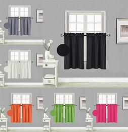 2PC LINED BLACKOUT PANELS KITCHEN SMALL WINDOW CURTAIN TIER