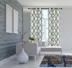 2PC SET GEOMETRIC PATTERN BLACKOUT LINED WINDOW CURTAIN GROM