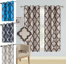 2pc window curtain blackout light blocking grommet