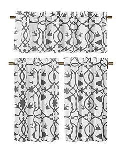 3 Piece Semi Sheer Window Curtain Set: Botanical Design, 2 T