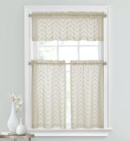 Regal Home Collections 3 Pc Complete Matte Sheer Chevron Kit