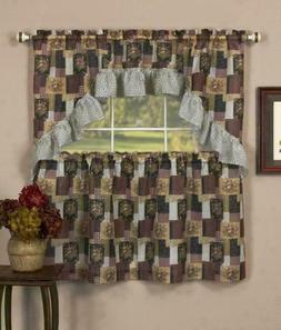 3 PC Country Floral Patchwork Kitchen Curtains Tier and Swag