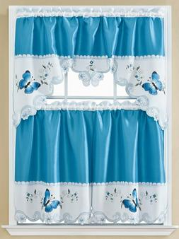 3 pc. Embroidery Curtains Set: 2 Tiers & Swag  BUTTERFLIES,