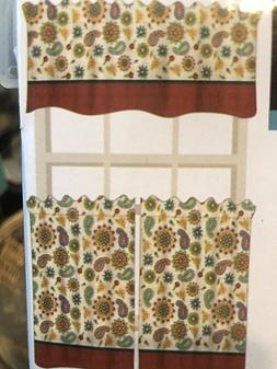 "3 PC FLOWERED  Kitchen Curtain Tier and Valance Set 36"" Long"