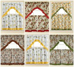 3 PC Kitchen Curtain Swag Set, Fruit Floral Rooster Printed