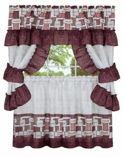 3 pc Kitchen Curtain Tailored Cottage Set  INSPIRATION WORDS