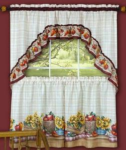 "3 pc Kitchen Curtains Set: 2 Tiers & Swag  FARMER""S MARKET b"