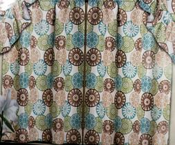 3 pc Kitchen Curtains SET: 2 Tiers & Swag  COLORFUL CIRCLES