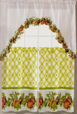 3 pc. Kitchen Curtains Set: 2 Tiers  & Swag  APPLES, EHF