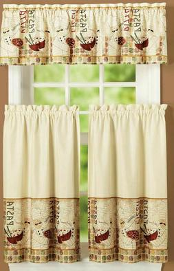 3 pc Kitchen Curtains Set , FAT CHEF, PIZZA & PASTA