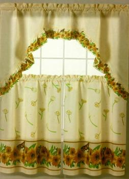 3 pc Kitchen Curtains Set: 2 Tiers & Swag  SUNFLOWERS ON BEI